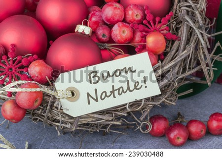 italy Christmas card with christmas tree balls and text merry christmas/merry christmas/ italy - stock photo