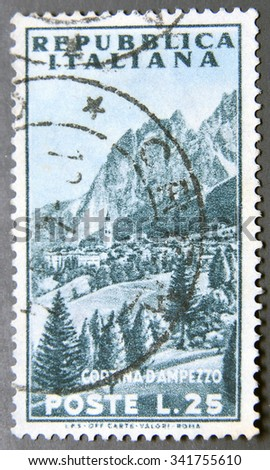 ITALY - CIRCA 1953: a postage stamp of Italy shows View of Mountain, Cortina d'Ampezzo - stock photo