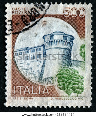 "ITALY - CIRCA 1980: A stamp printed in Italy from the ""Castles"" issue shows Rovereto castle, circa 1980."