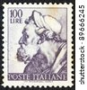"ITALY - CIRCA 1961: A stamp printed in Italy from the ""Michelangelo"" issue shows the head of prophet Ezekiel from Sistine Chapel, circa 1961. - stock photo"