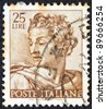 "ITALY - CIRCA 1961: A stamp printed in Italy from the ""Michelangelo"" issue shows the head of prophet Isaiah from Sistine Chapel, circa 1961. - stock photo"