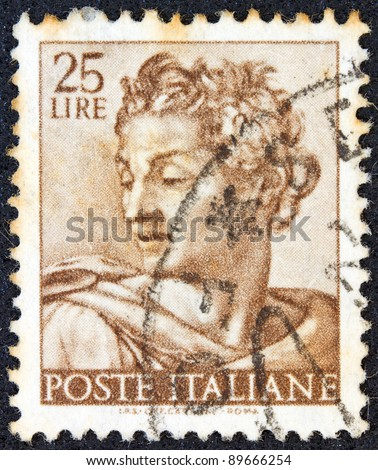 "ITALY - CIRCA 1961: A stamp printed in Italy from the ""Michelangelo"" issue shows the head of prophet Isaiah from Sistine Chapel, circa 1961."