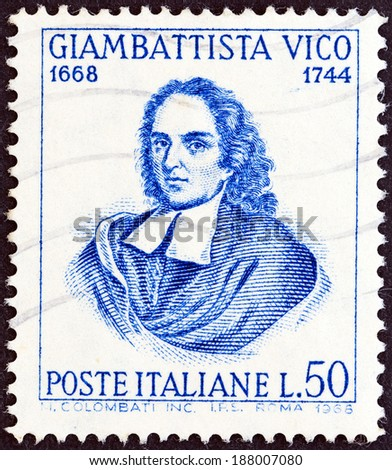 ITALY - CIRCA 1968: A stamp printed in Italy issued for the The 300th anniversary of the birth of Vico shows philosopher Giambattista Vico, circa 1968.  - stock photo