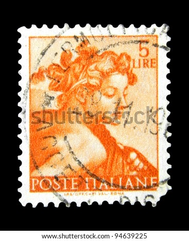 "ITALY - CIRCA 1961: A stamp printed in Italy shows a head of the ""Ignudi"" (Michelangio) without inscription, from the series ""Frescoes in the Sistine Chapel"", circa 1961"