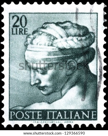 "ITALY - CIRCA 1961: A stamp printed in Italy shows a head of the ""Libyan Sibyl"" (Michelangio), without inscription, from the series ""Frescoes in the Sistine Chapel"", circa 1961"