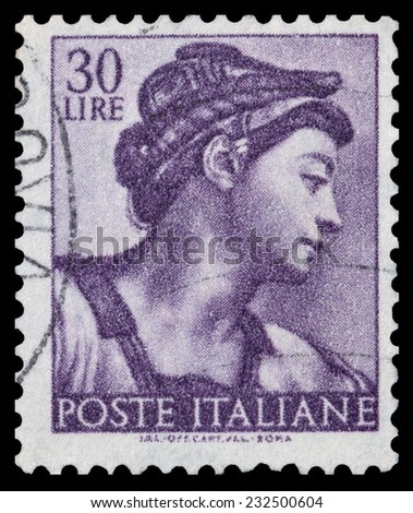 ITALY - CIRCA 1961 A stamp printed in Italy shows a head of the Sibyl Eritrea (Michelangelo), circa 1961