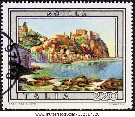 ITALY - CIRCA 1979: a stamp printed in Italy shows an illustration depicting Scilla, southern Italy holiday small town in front of the strait of Messina. Italy, circa 1979 - stock photo