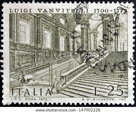 ITALY - CIRCA 1973: A stamp printed in Italy shows Caserta Royal Palace by Luigi Vanvitelli, circa 1973