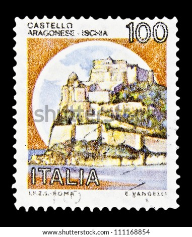 """ITALY - CIRCA 1980: A stamp printed in Italy, shows castle Aragonese, Ischia with the same inscription, from the series """"Italian castles"""", circa 1980 - stock photo"""