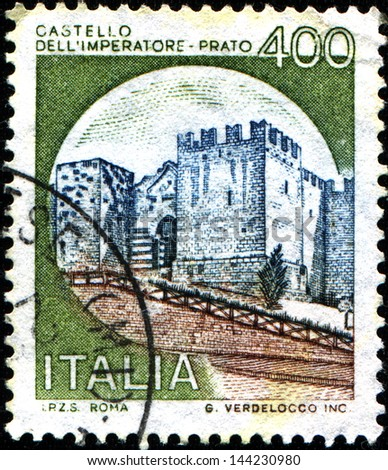 ITALY - CIRCA 1980: A stamp printed in  Italy shows Castle Imperatore Prato, Florence, circa 1980 - stock photo