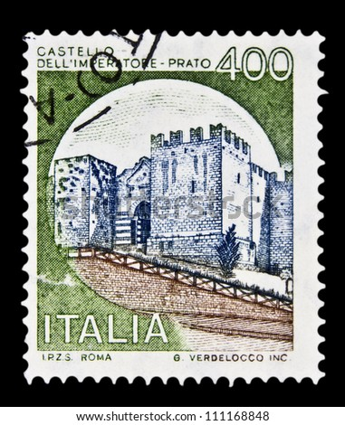 """ITALY - CIRCA 1980: A stamp printed in Italy, shows castle Imperatore Prato, Florence with the same inscription, from the series """"Italian castles"""", circa 1980 - stock photo"""