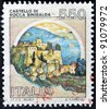 ITALY - CIRCA 1980: A stamp printed in Italy, shows castle or rock Sinibalda, italian series of castles, circa 1980 - stock photo