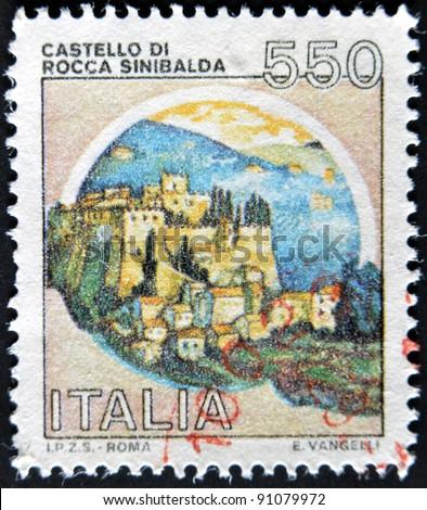 ITALY - CIRCA 1980: A stamp printed in Italy, shows castle or rock Sinibalda, italian series of castles, circa 1980 - stock photo