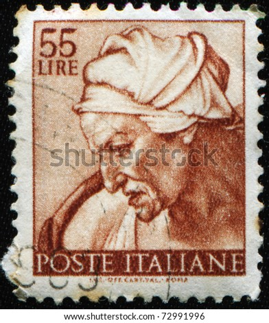 ITALY - CIRCA 1961: A stamp printed in Italy shows Cumaean Sibyl, fragment of painted ceiling of the Sistine Chapel, Vatican, fresco by Michelangelo, circa 1961