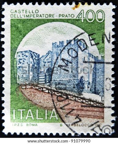 ITALY - CIRCA 1980: A stamp printed in Italy, shows Emperor's Castle, Prato, Italian series of castles , circa 1980 - stock photo