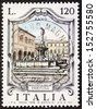 ITALY - CIRCA 1979: a stamp printed in Italy shows Fontana della Fortuna (Luck Fountain), built in the 16th century in Fano. Italy, circa 1979 - stock photo