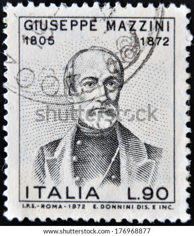 ITALY - CIRCA 1972: a stamp printed in Italy shows Giuseppe Mazzini, Patriot and Writer, Activist for the Unification of Italy, circa 1972