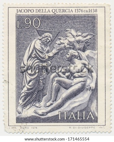 ITALY - CIRCA 1974: A stamp printed in Italy, shows God Admonishing Adam, by Jacopo della Quercia, circa 1974
