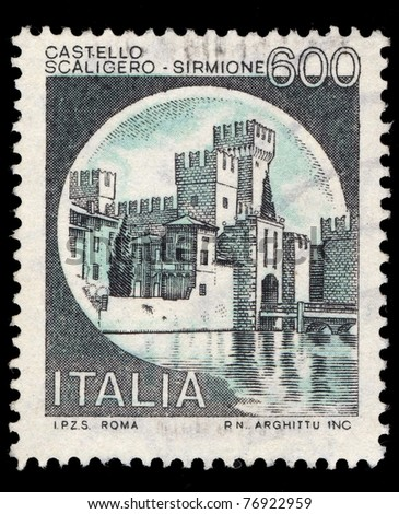 ITALY - CIRCA 1990: A stamp printed in Italy shows image of Scaligero-Sirmone Castle, series, circa 1990