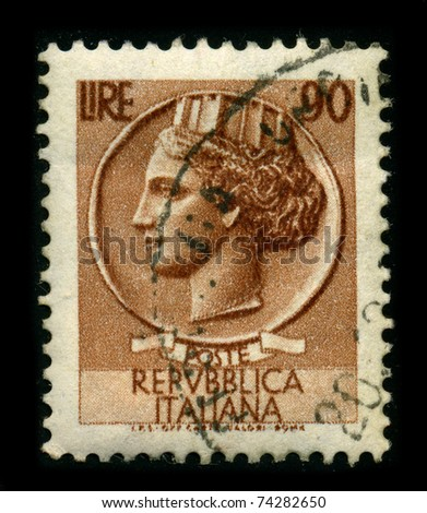 ITALY - CIRCA 1959: A stamp printed in ITALY shows image of the dedicated to the Republica Italiana, circa 1959.