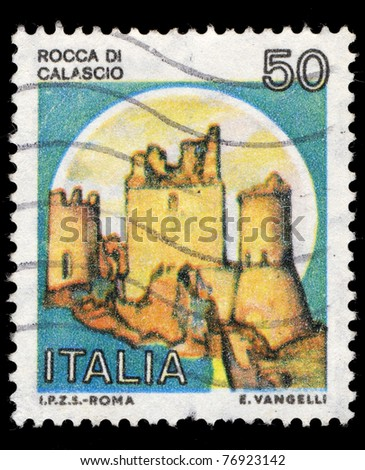ITALY - CIRCA 1989: A stamp printed in Italy shows image of the Rock of Calascio, series, circa 1989