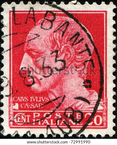 ITALY - CIRCA 1933: A stamp printed in Italy shows portrait of Gaius Julius Caesar Augustus, circa 1933
