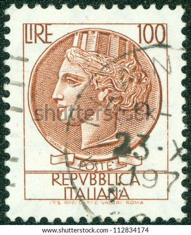 ITALY - CIRCA 1973: A stamp printed in Italy shows Queen's Head, circa 1973 - stock photo