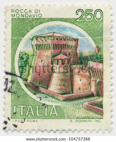 ITALY - CIRCA 1980: A stamp printed in Italy, shows Rocca di Mondavio, circa 1980 - stock photo