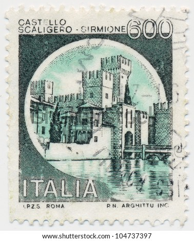 ITALY - CIRCA 1980: A stamp printed in Italy, shows Scaligero, Sirmione, circa 1980