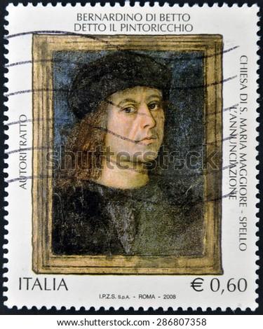 ITALY - CIRCA 2008: A stamp printed in Italy shows Self-portrait of Bernardino di Betto, Pinturicchio, circa 2008    - stock photo