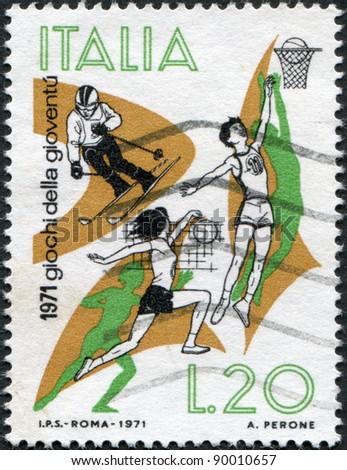ITALY - CIRCA 1971: A stamp printed in Italy, shows Skiing, Basketball, Volleyball, circa 1971