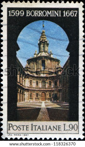 ITALY - CIRCA 1967: A stamp printed in  Italy shows St Ivo Church, Rome, Francesco Borromini, Architect, circa 1967