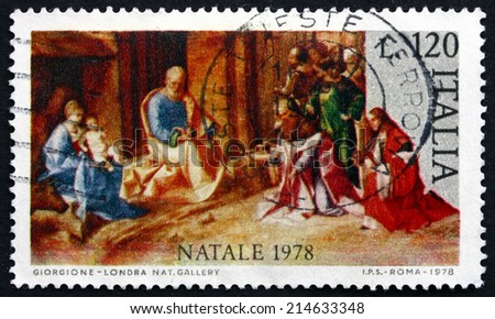 ITALY - CIRCA 1978: a stamp printed in the Italy shows Adoration of the Kings, Painting by Giorgione, Christmas, circa 1978 - stock photo