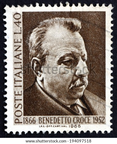 ITALY - CIRCA 1966: a stamp printed in the Italy shows Benedetto Croce, Philosopher, Statesman and Historian, circa 1966