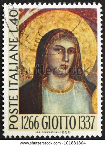 ITALY - CIRCA 1966: A stamp printed in the Italy shows Madonna, by Giotto, 700th Anniversary of the Birth of Giotto di Bondone, Florentine Painter, circa 1966