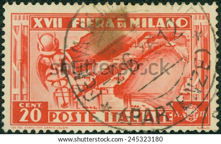 ITALY - CIRCA 1936: a stamp printed in the Italy shows Map of Italian Industries, 17th Milan Trade Fair, circa 1936 - stock photo