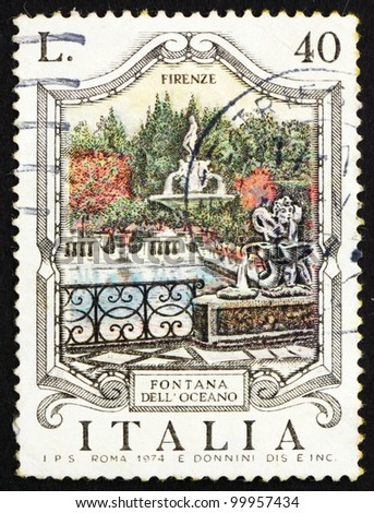 ITALY - CIRCA 1974: a stamp printed in the Italy shows Oceanus Fountain, Florence, Italy, circa 1974 - stock photo