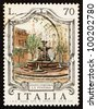 ITALY - CIRCA 1975: a stamp printed in the Italy shows Piazza Fontana, Milan, Italy, circa 1975 - stock photo