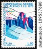 ITALY - CIRCA 1970: a stamp printed in the Italy shows Sassolungo and Sella Group, Dolomite Alps, World Alpine Ski Championships, Val Gardena, Bolzano Province, circa 1970 - stock photo