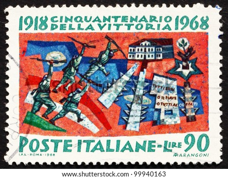ITALY - CIRCA 1968: a stamp printed in the Italy shows The Battle of Vittorio Veneto, 50th Anniversary of the Allies' Victory in WWI, circa 1968