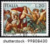 ITALY - CIRCA 1970: a stamp printed in the Italy shows The Triumph of Galatea, Fresco by the Italian Painter Raphael, Villa Farnesina in Rome, circa 1970 - stock photo