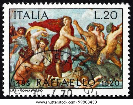 ITALY - CIRCA 1970: a stamp printed in the Italy shows The Triumph of Galatea, Fresco by the Italian Painter Raphael, Villa Farnesina in Rome, circa 1970 - stock photo