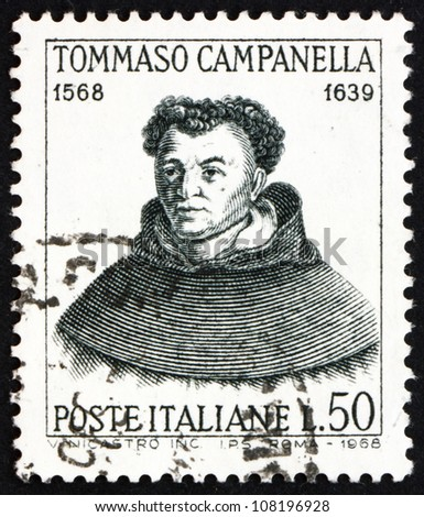 ITALY - CIRCA 1968: a stamp printed in the Italy shows Tommaso Campanella, Dominican Monk, Philosopher, Poet and Teacher, circa 1968