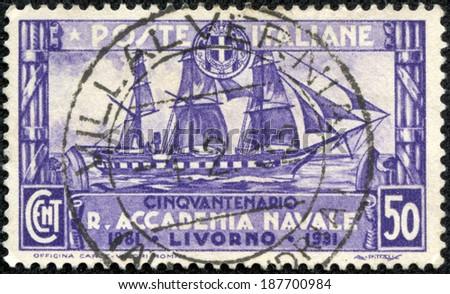 ITALY - CIRCA 1931: A stamp printed in the Italy shows Training Ship Amerigo Vespucci, 50th Anniversary of Royal Naval Academy at Livorno, circa 1931 - stock photo