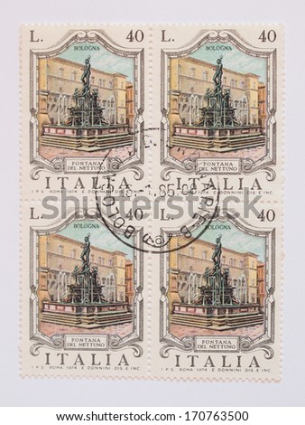 ITALY - CIRCA 1974: mail stamp released in Italy to commemorate the 400th anniversary of the Fontana del Nettuno (Neptune fountain) in Bologna  - stock photo