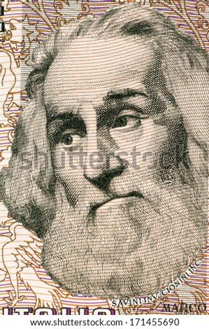 ITALY - CIRCA 1982: Marco Polo (1254-1324) on 1000 Lire 1982 Banknote from Italy. Venetian merchant traveler. - stock photo