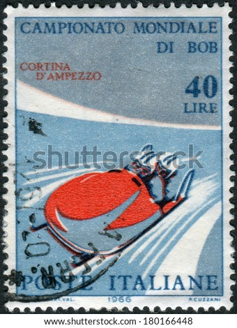 ITALY - CIRCA 1966: Postage stamp printed in Italy, dedicated to World Bobsleigh Championships, shows Two-man bobsleigh, circa 1966  - stock photo