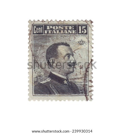 ITALY - CIRCA 1909: Postage stamp with a picture king of Italy Vittorio Emanuele III, circa 1909 - stock photo