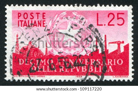 ITALY - CIRCA 1956: stamp printed by Italy, shows Arms of Republic and Symbols of Industry, circa 1956