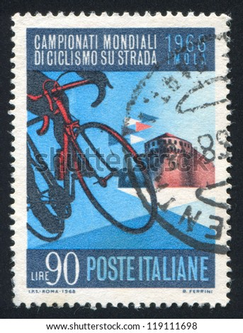 ITALY - CIRCA 1968: stamp printed by Italy, shows Bicycle and Sforza Castle in Imola, circa 1968